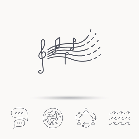 gclef: Songs for kids icon. Musical notes, melody sign. G-clef symbol. Global connect network, ocean wave and chat dialog icons. Teamwork symbol.
