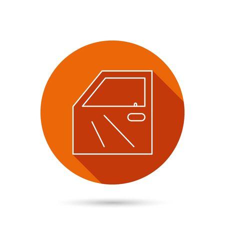 automobile door: Car door icon. Automobile lock sign. Round orange web button with shadow.
