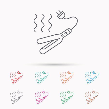 electric iron: Curling iron icon. Hairstyle electric tool sign. Linear icons on white background. Illustration