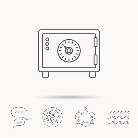 combination safe: Safe icon. Money deposit sign. Combination lock symbol. Global connect network, ocean wave and chat dialog icons. Teamwork symbol. Illustration