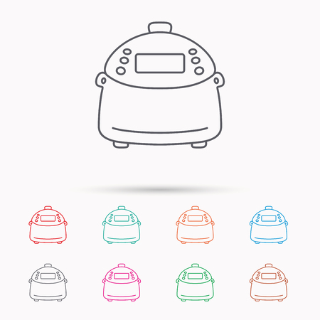 kitchen device: Multicooker icon. Kitchen electric device symbol. Linear icons on white background.