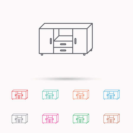 chest of drawers: Chest of drawers icon. Interior commode sign. Linear icons on white background.