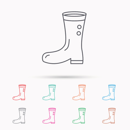 waterproof: Boots icon. Garden rubber shoes sign. Waterproof wear symbol. Linear icons on white background.
