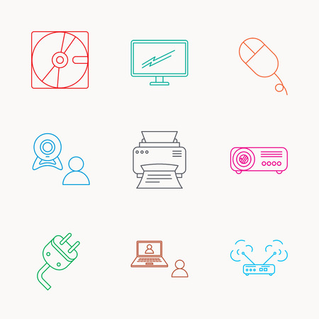 portative: Monitor, printer and wi-fi router icons. Video chat, electric plug and pc mouse linear signs. Projector, hard disk icons. Linear colored icons.
