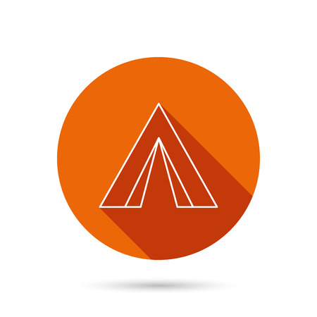 hike: Tourist tent icon. Camping travel hike sign. Round orange web button with shadow.
