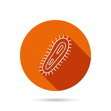 high scale: Bacteria icon. Medicine infection symbol. Bacterium or microbe sign. Round orange web button with shadow.