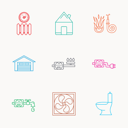 sewerage: Ventilation, garage and heat radiator icons. Gas, water and electricity counter linear signs. Real estate, toilet and fire hose icons. Linear colored icons. Illustration