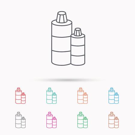 shampoo bottles: Shampoo bottles icon. Liquid soap sign. Linear icons on white background.