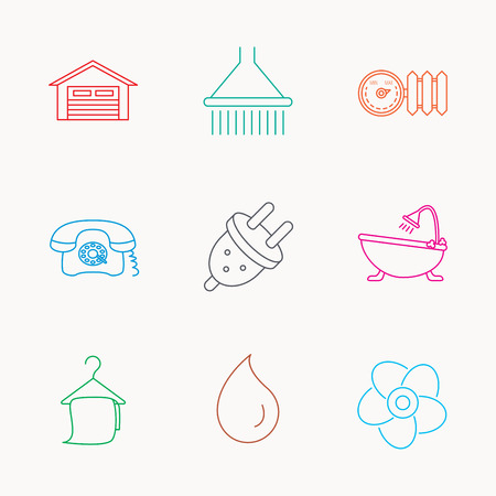 Ventilation, heat radiator and electric plug. Retro phone, shower and garage linear signs. Water drop, bath towel icons. Linear colored icons. Illustration