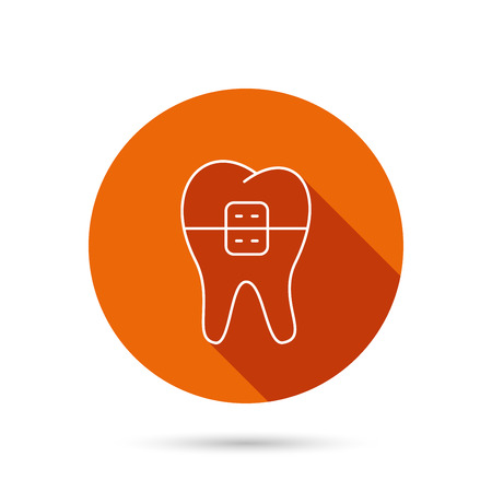 Dental braces icon. Tooth healthcare sign. Orthodontic symbol. Round orange web button with shadow.