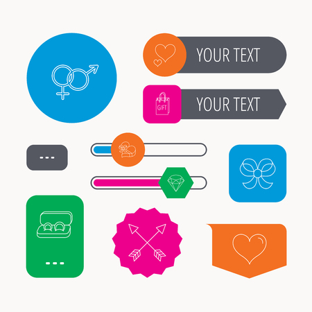 web engagement: Love heart, gift box and wedding rings icons. Bow and engagement linear signs. Valentine amour arrows, brilliant flat line icons. Web buttons and app menu navigation.