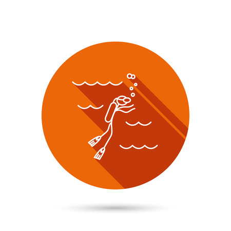 swimming underwater: Diving icon. Swimming underwater with tube sign. Scuba diving symbol. Round orange web button with shadow.