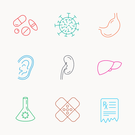 gastroenterology: Pills, medical plaster and prescription icons. Virus, stomach and liver linear signs. Ear, kidney and lab bublb icons. Linear colored icons. Illustration