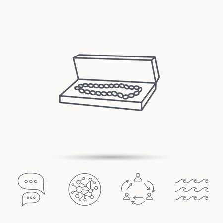 jewelry box: Jewelry box icon. Luxury precious sign. Global connect network, ocean wave and chat dialog icons. Teamwork symbol. Illustration