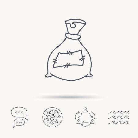 phosphate: Bag with fertilizer icon. Fertilization sack sign. Farming or agriculture symbol. Global connect network, ocean wave and chat dialog icons. Teamwork symbol. Illustration