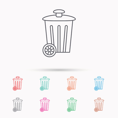 trash container: Recycle bin icon. Trash container sign. Street rubbish symbol. Linear icons on white background.
