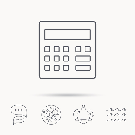 wave equality: Calculator icon. Accounting sign. Balance calculation symbol. Global connect network, ocean wave and chat dialog icons. Teamwork symbol.