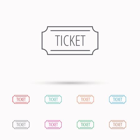 coupon sign: Ticket icon. Coupon sign. Linear icons on white background. Illustration