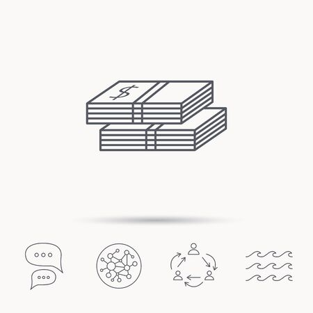 wads: Cash icon. Dollar money sign. USD currency symbol. 2 wads of money. Global connect network, ocean wave and chat dialog icons. Teamwork symbol. Illustration