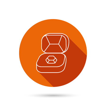 round brilliant: Brilliant jewellery icon. Engagement sign. Round orange web button with shadow. Illustration