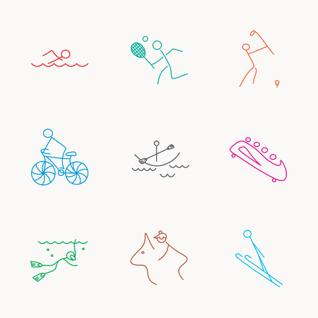 bobsleigh: Swimming, tennis and golf icons. Biking, diving and horseback riding linear signs. Ski jumping, boating and bobsleigh icons. Linear colored icons.