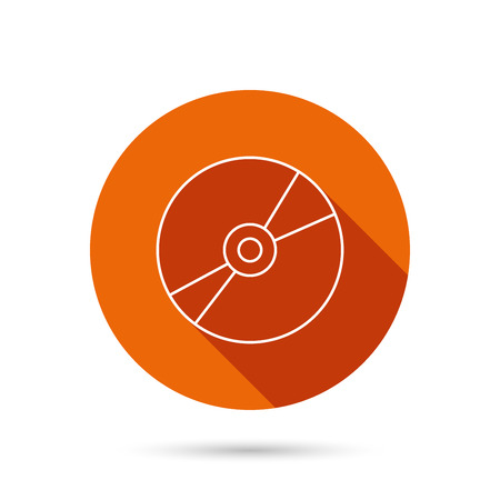 cd r: CD or DVD icon. Multimedia sign. Round orange web button with shadow. Illustration