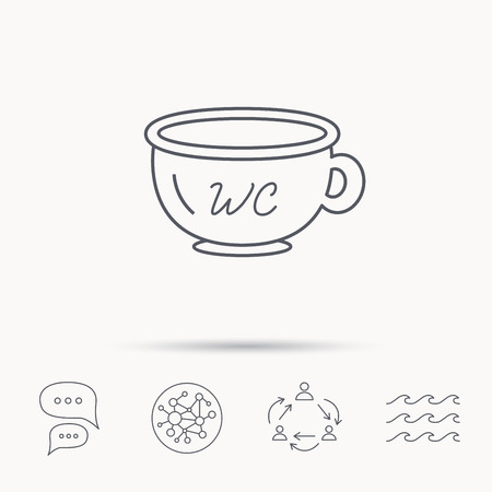 baby toilet: Baby wc pot icon. Child toilet sign. Washroom or lavatory symbol. Global connect network, ocean wave and chat dialog icons. Teamwork symbol.