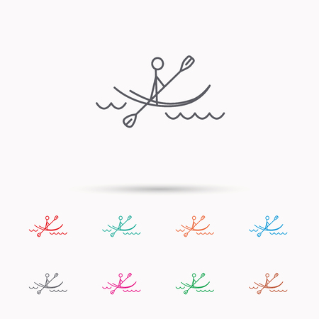 boating: Kayaking on waves icon. Rafting or canoeing sign. Boating sport symbol. Linear icons on white background.