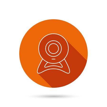 web cam: Web cam icon. Video camera sign. Online communication symbol. Round orange web button with shadow. Illustration