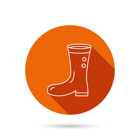 waterproof: Boots icon. Garden rubber shoes sign. Waterproof wear symbol. Round orange web button with shadow.