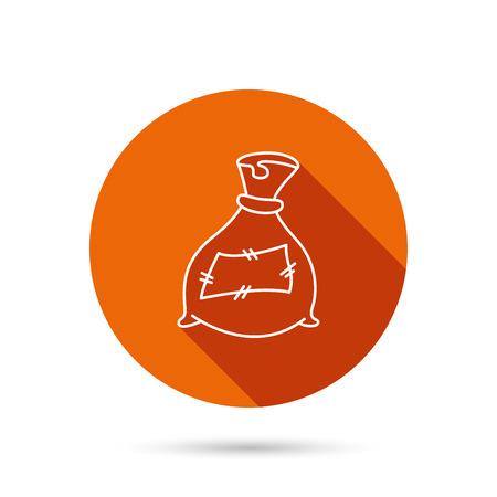 phosphate: Bag with fertilizer icon. Fertilization sack sign. Farming or agriculture symbol. Round orange web button with shadow. Illustration