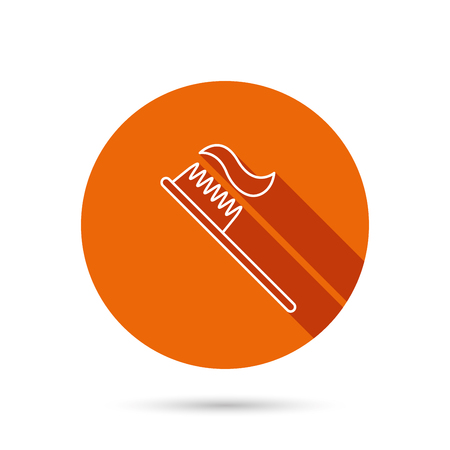Toothbrush icon. Toothpaste sign. Dental oral cleaning symbol. Round orange web button with shadow.