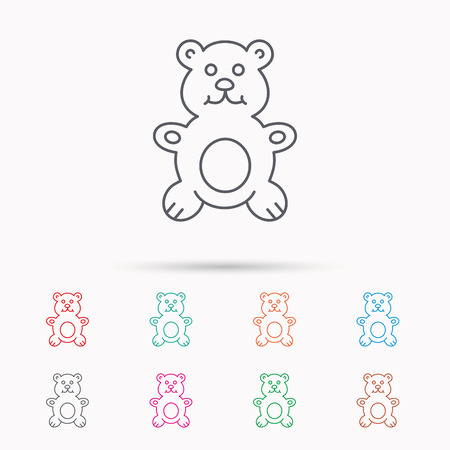 plush: Teddy-bear icon. Baby toy sign. Plush animal symbol. Linear icons on white background.