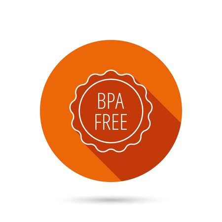 phthalates: BPA free icon. Bisphenol plastic sign. Round orange web button with shadow. Illustration