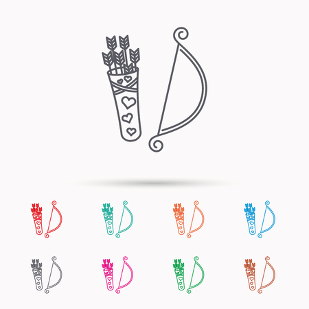 bowstring: Amour arrows with bow icon. Cupid love symbol. Linear icons on white background.