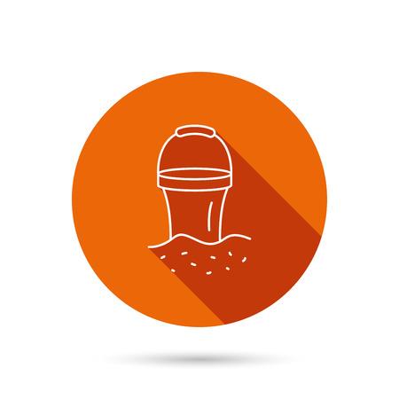 beach game: Bucket in sand icon. Trash bin sign. Child beach game symbol. Round orange web button with shadow. Illustration