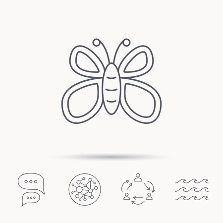 lepidoptera: Butterfly icon. Flying lepidoptera sign. Dreaming symbol. Global connect network, ocean wave and chat dialog icons. Teamwork symbol. Illustration