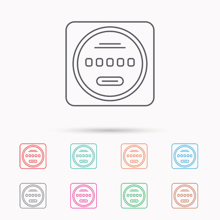 kilowatt: Electricity power counter icon. Measurement sign. Linear icons on white background.