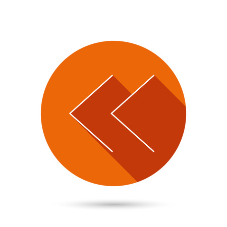 back arrow: Back arrow icon. Previous sign. Left direction symbol. Round orange web button with shadow.