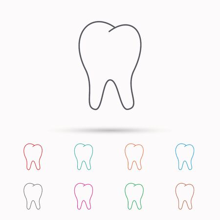 pulp: Tooth icon. Stomatology sign. Dental care symbol. Linear icons on white background. Illustration