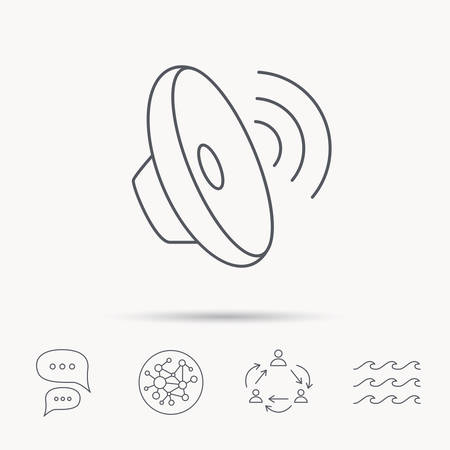 louder: Sound waves icon. Audio speaker sign. Music symbol. Global connect network, ocean wave and chat dialog icons. Teamwork symbol.