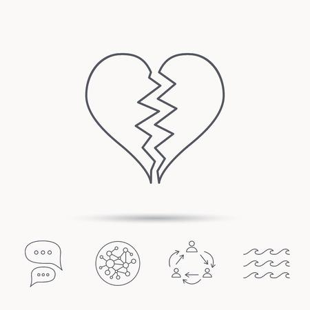Broken Heart Icon Divorce Sign End Of Love Symbol Global Connect