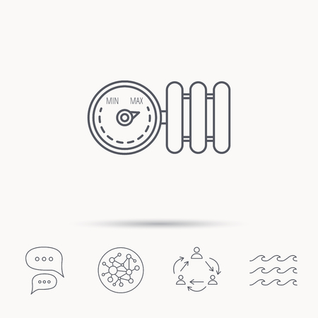 Heizkörper mit Regler-Symbol. Heater Zeichen. Global Connect Netzwerk, Ozeanwelle und Chat-Dialog Symbole. Teamwork-Symbol.