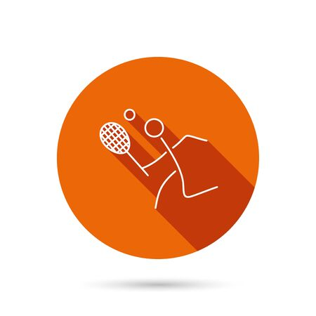 professional sport: Tennis icon. Racket with ball sign. Professional sport symbol. Round orange web button with shadow.