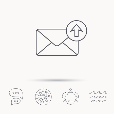 outbox: Mail outbox icon. Email message sign. Upload arrow symbol. Global connect network, ocean wave and chat dialog icons. Teamwork symbol.