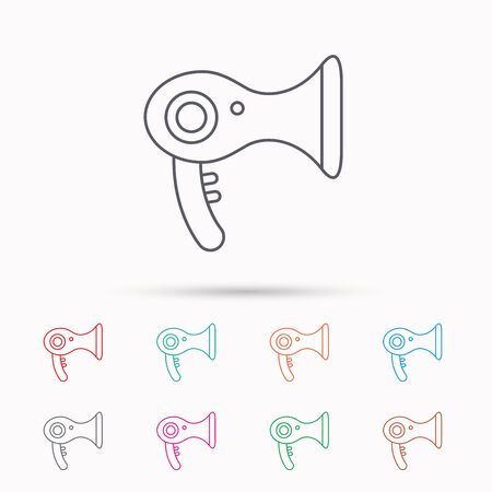 air diffuser: Hairdryer icon. Electronic blowdryer sign. Hairdresser equipment symbol. Linear icons on white background.