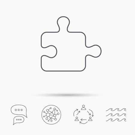 sequences: Puzzle icon. Jigsaw logical game sign. Boardgame piece symbol. Global connect network, ocean wave and chat dialog icons. Teamwork symbol.