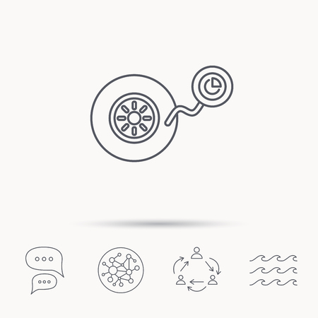 flaring: Wheel pressure icon. Tire service sign. Global connect network, ocean wave and chat dialog icons. Teamwork symbol. Illustration