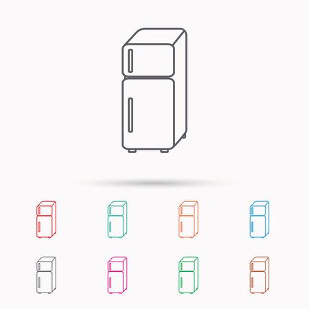 frig: Refrigerator icon. Fridge sign. Linear icons on white background.
