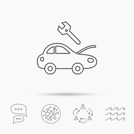 breakage: Car service icon. Transport repair with wrench key sign. Global connect network, ocean wave and chat dialog icons. Teamwork symbol.